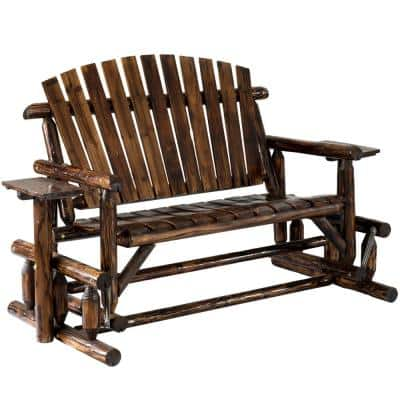 Wood Pinewood Outdoor Cabin Log Glider Swing with Side Tables, Brown