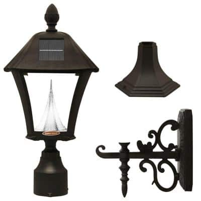 Baytown Black Outdoor Solar Post Light with 3 in. Fitter, Pier and Wall Mounts and Bright/Warm White LED