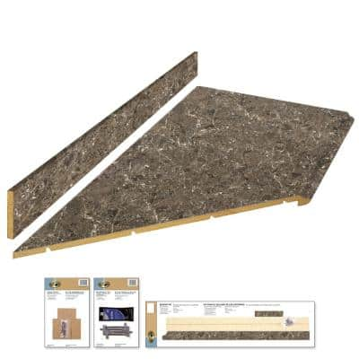 8 ft. Brown Laminate Countertop Kit With Left Miter and Full Wrap Ogee Edge in Breccia Marble