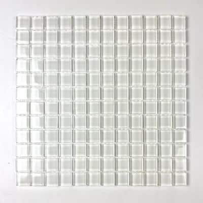 Metro Snow White Square Mosaic 1 in. x 1 in. Glossy Glass Mesh Mounted Wall Tile (1 Sq. ft.)