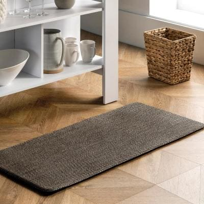 Casual Braided Anti Fatigue Kitchen or Laundry Room Black 18 in. x 30 in. Indoor Comfort Mat