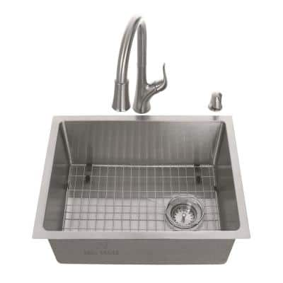 All-in-One Tight Radius Stainless Steel 23 in. 18-Gauge Single Bowl Undermount Kitchen Sink with Pull Down Faucet
