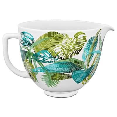 5 Qt. Tropical Floral Patterned Ceramic Bowl