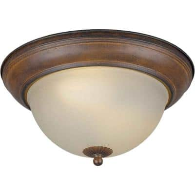 2-Light Rustic Sienna Flush Mount with Shaded Umber Glass
