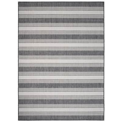 Kilimanjaro Gray/White 3 ft. x 5 ft. Cabana Striped Geometric Polypropylene Indoor/Outdoor Area Rug