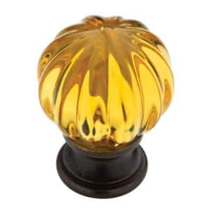 Ridge 1-1/4 in. (32mm) Statuary Bronze with Amber Acrylic Ball Cabinet Knob