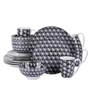 16-Piece Modern Diamonds Check Design Gray Porcelain Dinnerware Sets (Service for Set for 4)