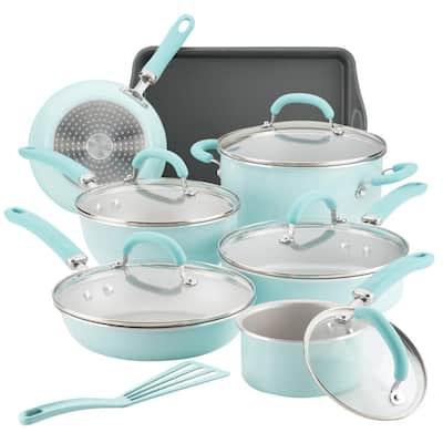 Create Delicious 13-Piece Aluminum Nonstick Cookware Set in Light Blue Shimmer