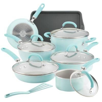 Rachael Ray Create Delicious 13-Piece Aluminum Nonstick Cookware Set in Light Blue Shimmer