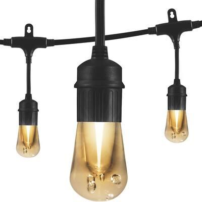 24-Bulb 48 ft. Vintage Cafe Integrated LED String Lights, Black