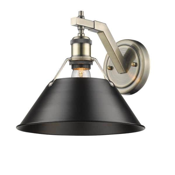 Golden Lighting Orwell Ab 1 Light Aged Brass Sconce With Black Shade 3306 1w Ab Blk The Home Depot