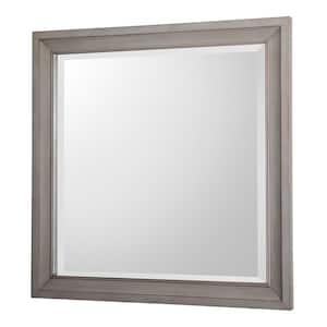 30 in. W x 30 in. H Framed Square  Bathroom Vanity Mirror in Antique Grey