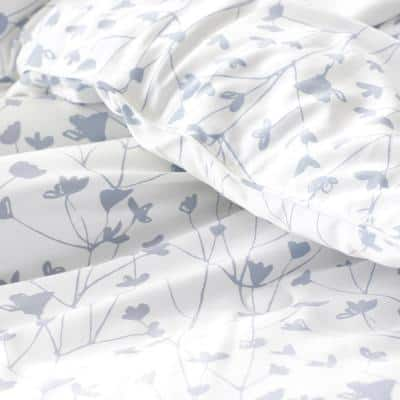 Company Cotton Ivy White Multicolored Botanical Bamboo Sateen Comforter