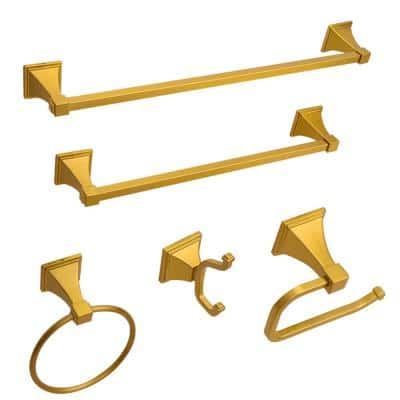 Narbonne 5-Piece Bath Hardware Set with Towel Hook and Ring Toilet Paper Holder Towel Bars in Brushed Golden Brass
