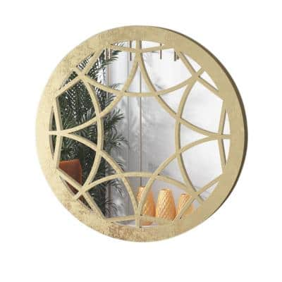 36 in. H x 36 in. W Rustic Farmhouse Styles Medium Round Gold Antiqued Decor Wood Frame Wall Mirror