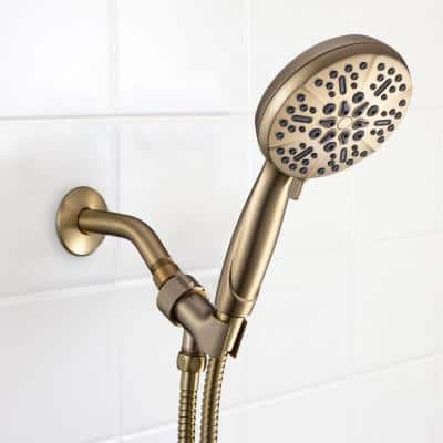 5-Spray Patterns with 1.75 GPM 5 in. High Pressure Wall Mount Handheld Shower Head in Brushed Gold