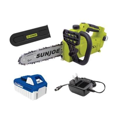 Sun Joe 24-Volt iON+ 10 in. Cordless Chain Saw Kit with 4.0 Ah Battery
