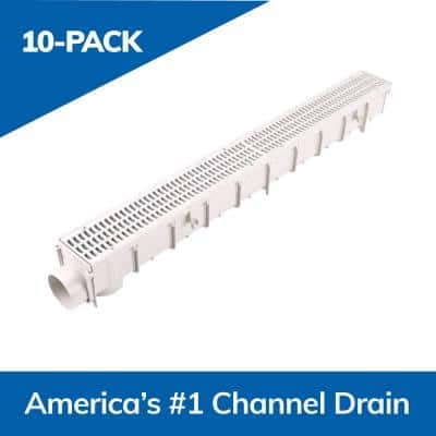 3 in. Pro Series Channel Drain Kit 4-1/16 in. x 39-3/8 in. Channel, Gray Grate, End Caps/Outlet (10-Pack=32.8 ft.)