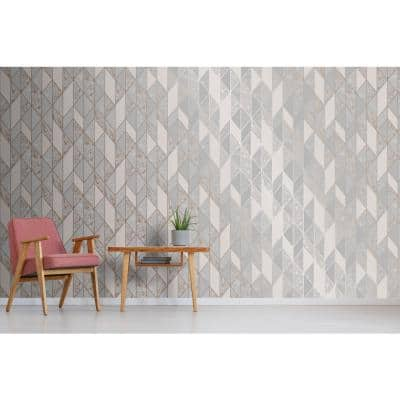 Grey & Rose Gold Vinyl Non-Pasted Washable Wallpaper Roll (Covers 56 Sq. Ft.)