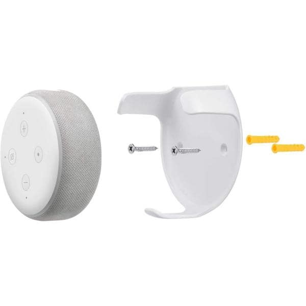 Wasserstein Wall Mount Compatible With Echo Dot 3rd Gen Mounting Alternative For Your Alexa Smart Speaker In White 1 Pack Echodot3wallwht1usa The Home Depot