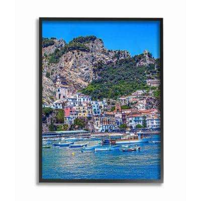 """16 in. x 20 in. """"Coast Town Bright Blue Green Landscape Photograph"""" by David Stern Framed Wall Art"""