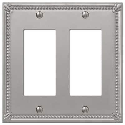Imperial Bead 2 Gang Rocker Metal Wall Plate - Brushed Nickel