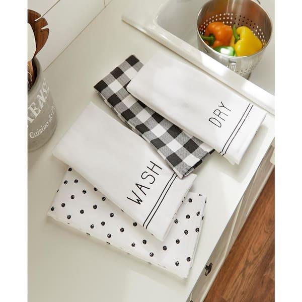 Elrene Farmhouse Living Sentiments Black White Kitchen Towels Set Of 4 95160blw The Home Depot