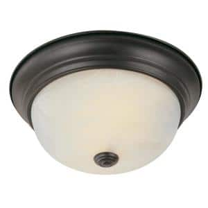 Browns 15 in. 3-Light Oiled Bronze Flush Mount with White Marbleized Glass Shade