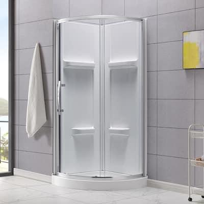 Maia 34 in. x 79.50 in. Corner Drain Corner Shower Kit in Clear and Chrome