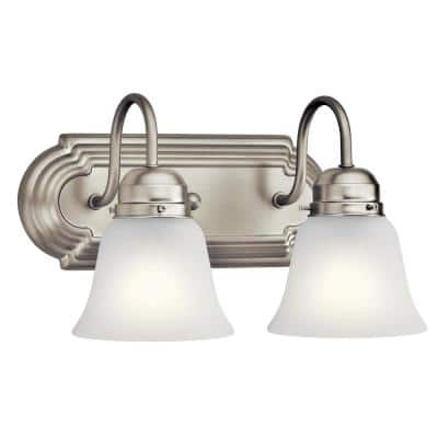 Independence 12 in. 2-Light Brushed Nickel Vanity Light with Frosted Glass Shade