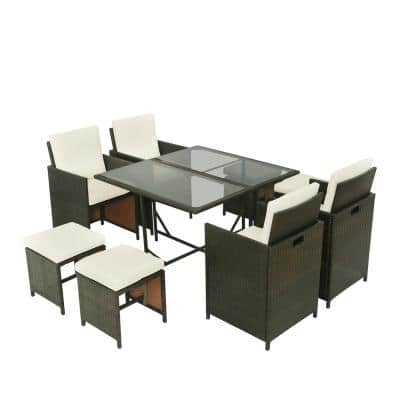 Belle Brown 9-Piece Rattan Wicker Patio Dining Table Outdoor Furniture Sets with Beige Cushions