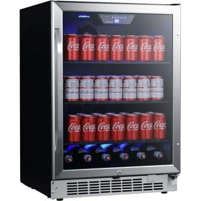 24 in. 142 (12 oz.) Can Built-in Beverage Cooler with Tinted Door and LED Lighting