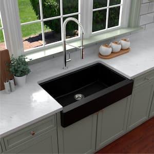 Retrofit Farmhouse/Apron-Front Quartz Composite 34 in. Single Bowl Kitchen Sink in Black