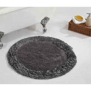Shaggy Border Collection Grey 30 in. x 30 in. 100% Cotton Bath Rug