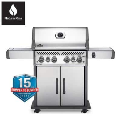 Rogue 4-Burner Natural Gas Grill with Infrared Rear and Side Burners in Stainless Steel