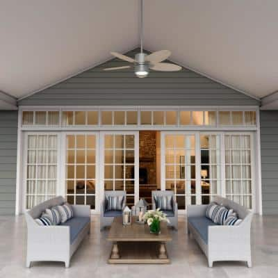 Amaryllis 52 in. Indoor/Outdoor Matte Silver Ceiling Fan with Light and Remote Control