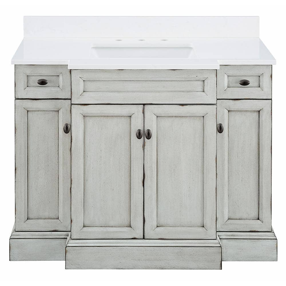 Foremost Teagen 42 In W X 22 In D Bath Vanity In Vintage Grey With Engineered Stone Vanity Top In White With White Basin Tega4222d The Home Depot