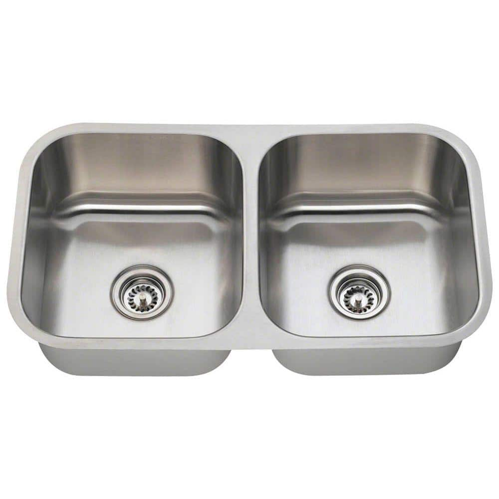 Polaris Sinks Undermount Stainless Steel 33 In Double Bowl Kitchen Sink Pa205 16 The Home Depot
