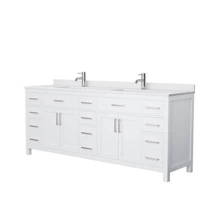 Beckett 84 in. W x 22 in. D Double Vanity in White with Cultured Marble Vanity Top in White with White Basins