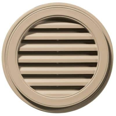 22 in. x 22 in. Round Brown/Tan Plastic Built-in Screen Gable Louver Vent