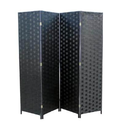 Black Paper Straw Weave 4 - -Panel Screen on 2 in. H Wooden Legs, Handcrafted Room Divider
