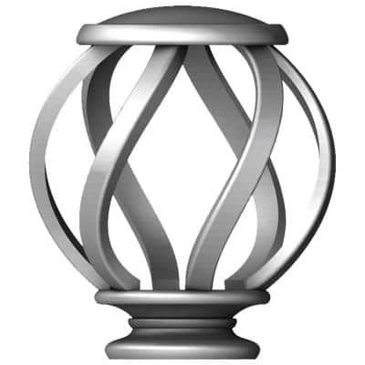 Mix and Match Swirl Cage 1 in. Curtain Rod Finial in Brushed Nickel (2-Pack)