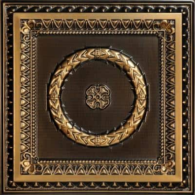 Laurel Wreath 2 ft. x 2 ft. PVC Glue-up or Lay-in Ceiling Tile in Antique Gold