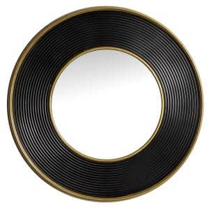 Large Gold And Black Metal Rimmed Wall Mirror, 35 in. x 35 in.
