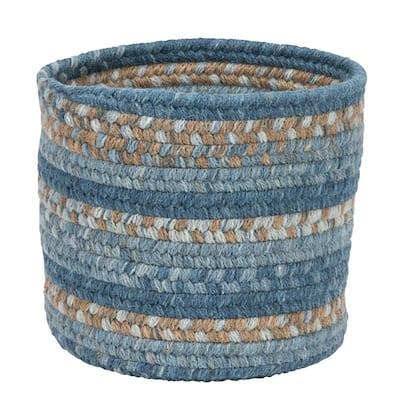 Acre Small Space Wool Basket Monaco Blue 10 in. x 10 in. x 8 in.