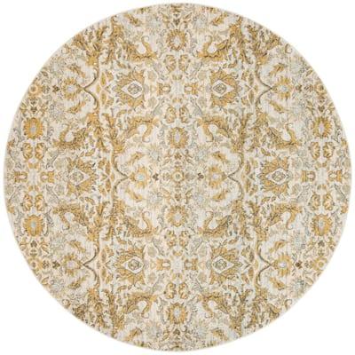Evoke Ivory/Gold 7 ft. x 7 ft. Round Floral Area Rug