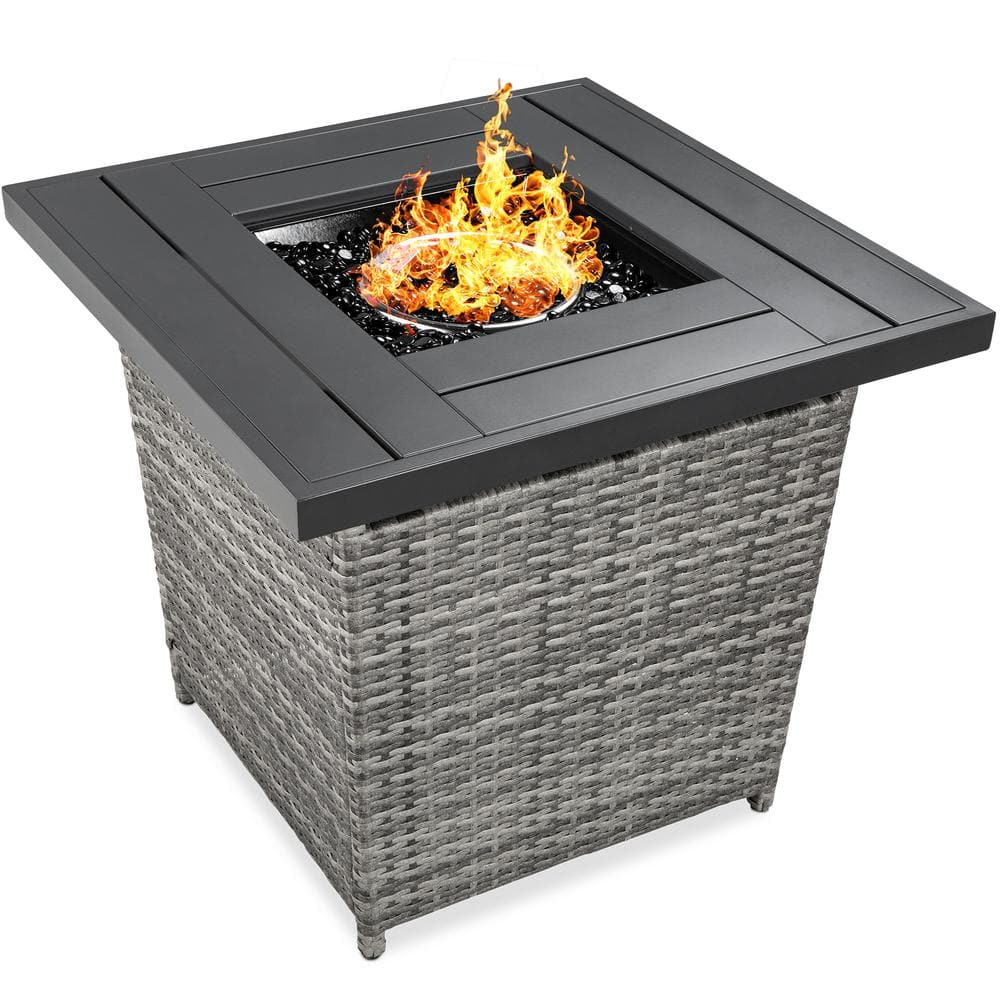 Best Choice Products Gray Square Wicker Fire Pit Table Sky5672 The Home Depot