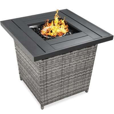 Gray Square Wicker Fire Pit Table