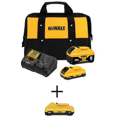 DEWALT 20-Volt MAX Lithium-Ion Battery Starter Kit w/ (1) 6.0Ah Battery, (2) 4.0Ah Battery & Charger