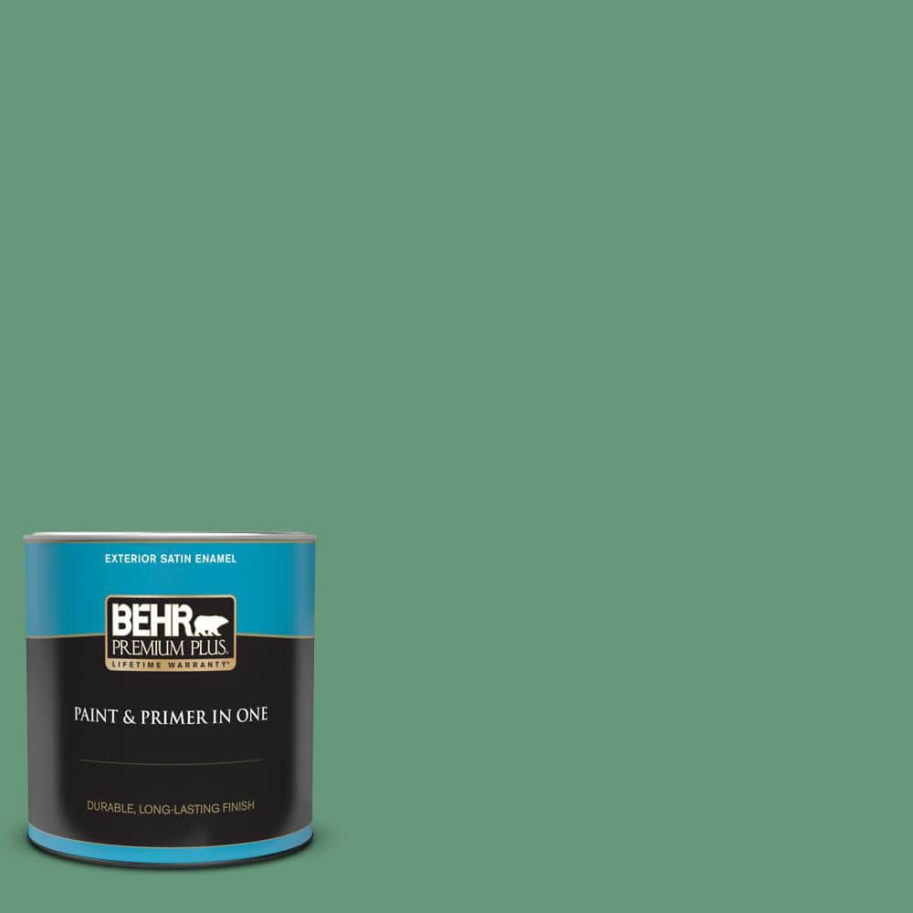 Behr Premium Plus 1 Qt 470d 5 Herbal Satin Enamel Exterior Paint And Primer In One 934004 The Home Depot